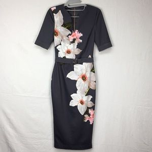 Ted Baker Gray Bisslee Chatsworth Bodycon Dress